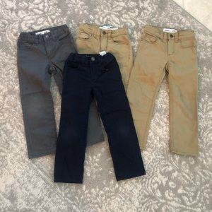 Old navy boys straight flex pants 4T navy tan grey